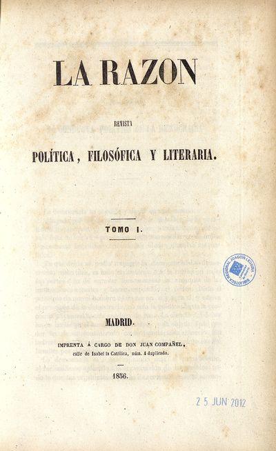 La Razón : revista política, filosófica y literaria