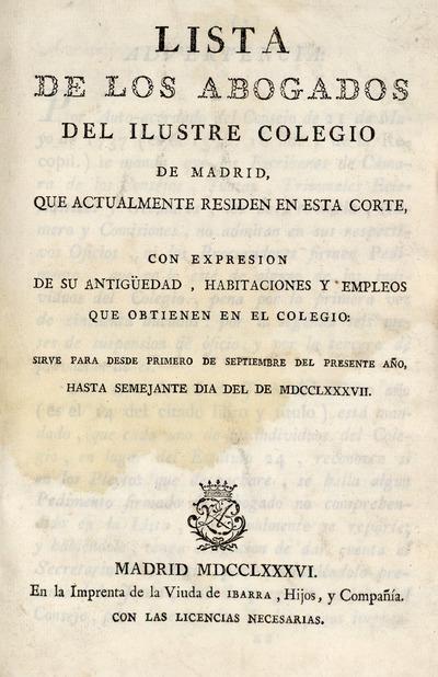 Lista de los abogados del ilustre Colegio de Madrid ...