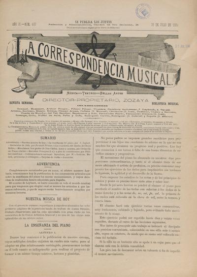 La Correspondencia musical : música, teatros, bellas artes : revista semanal: biblioteca musical