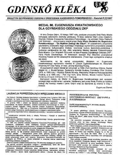 Gdinskô Klëka : biuletyn Gdyńskiego Oddziału Zrzeszenia Kaszubsko-Pomorskiego Kwartał II Nr (2) 1997