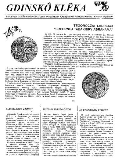 Gdinskô Klëka : biuletyn Gdyńskiego Oddziału Zrzeszenia Kaszubsko-Pomorskiego Kwartał III Nr (3) 1997