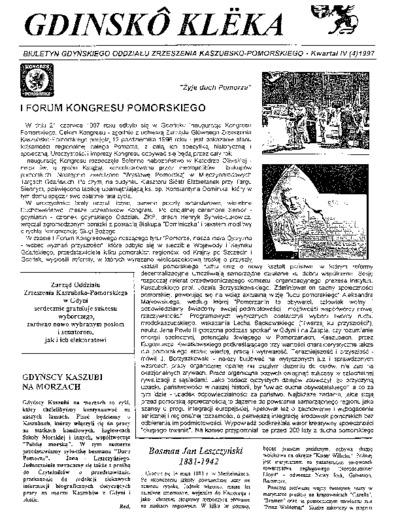 Gdinskô Klëka : biuletyn Gdyńskiego Oddziału Zrzeszenia Kaszubsko-Pomorskiego Kwartał IV Nr (4) 1997