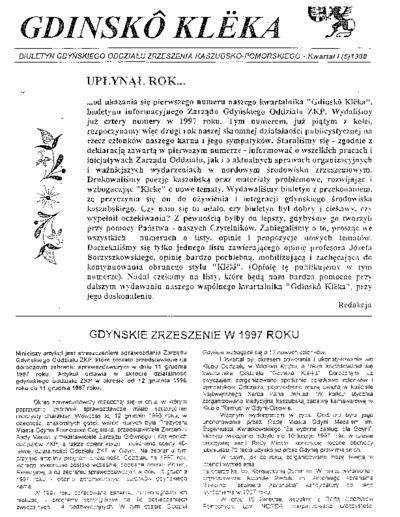 Gdinskô Klëka : biuletyn Gdyńskiego Oddziału Zrzeszenia Kaszubsko-Pomorskiego Kwartał I Nr (5) 1998