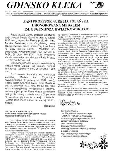 Gdinskô Klëka : biuletyn Gdyńskiego Oddziału Zrzeszenia Kaszubsko-Pomorskiego Kwartał II Nr (6) 1998