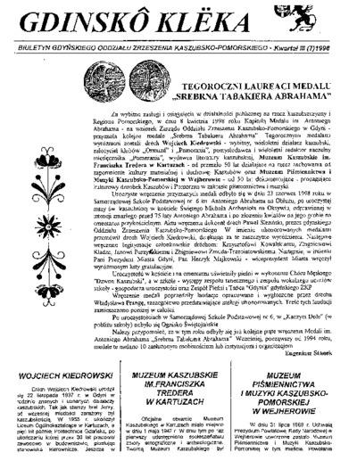 Gdinskô Klëka : biuletyn Gdyńskiego Oddziału Zrzeszenia Kaszubsko-Pomorskiego Kwartał III Nr (7) 1998