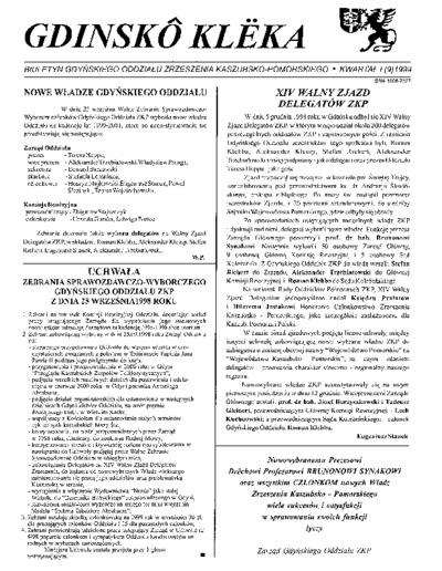 Gdinskô Klëka : biuletyn Gdyńskiego Oddziału Zrzeszenia Kaszubsko-Pomorskiego Kwartał I Nr (9) 1999