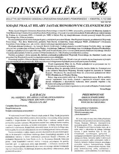 Gdinskô Klëka : biuletyn Gdyńskiego Oddziału Zrzeszenia Kaszubsko-Pomorskiego Kwartał II Nr (10) 1999
