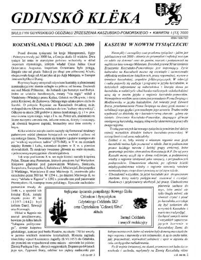 Gdinskô Klëka : biuletyn Gdyńskiego Oddziału Zrzeszenia Kaszubsko-Pomorskiego Kwartał I Nr (13) 2000
