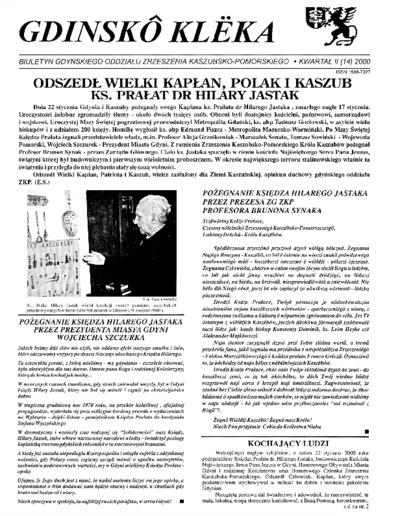 Gdinskô Klëka : biuletyn Gdyńskiego Oddziału Zrzeszenia Kaszubsko-Pomorskiego Kwartał II Nr (14) 2000