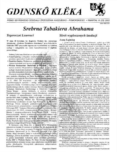 Gdinskô Klëka : biuletyn Gdyńskiego Oddziału Zrzeszenia Kaszubsko-Pomorskiego Kwartał III Nr (23) 2002