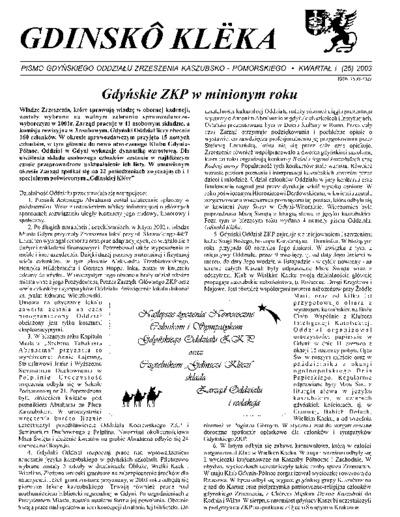 Gdinskô Klëka : biuletyn Gdyńskiego Oddziału Zrzeszenia Kaszubsko-Pomorskiego Kwartał I Nr (25) 2003