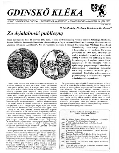 Gdinskô Klëka : biuletyn Gdyńskiego Oddziału Zrzeszenia Kaszubsko-Pomorskiego Kwartał III Nr (27) 2003