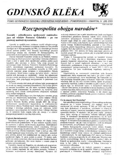 Gdinskô Klëka : biuletyn Gdyńskiego Oddziału Zrzeszenia Kaszubsko-Pomorskiego Kwartał IV Nr (28) 2003