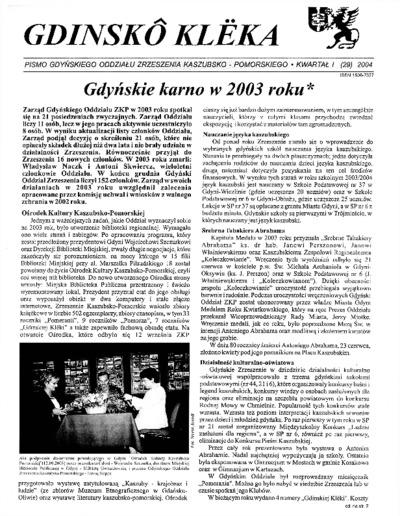 Gdinskô Klëka : biuletyn Gdyńskiego Oddziału Zrzeszenia Kaszubsko-Pomorskiego Kwartał I Nr (29) 2004