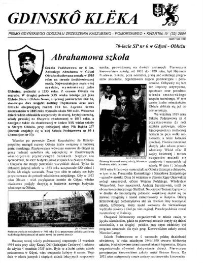 Gdinskô Klëka : biuletyn Gdyńskiego Oddziału Zrzeszenia Kaszubsko-Pomorskiego Kwartał IV Nr (32) 2004