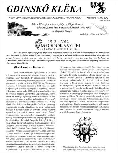 Gdinskô Klëka : Pismo Gdyńskiego Oddziału Zrzeszenia Kaszubsko-Pomorskiego Kwartał IV Nr 4 (66) 2012