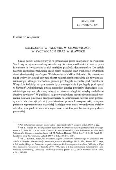 Salezjanie w Pałowie, w Słonowicach, w Sycewicach oraz w Sławsku