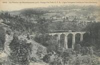 Le Viaduc de Chavalamard (30 m). Passage d'un train C.F.D.-Ligne Yssingeaux-Lavoûte-sur-Loire (Hte-Loire)