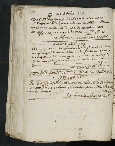 Receipts nos. 622-624 : no. 622, 29 October 1789, Abram Veneziano acknowledges receiving his salary of four months from Raffael Pichiotto ; no. 623, 3 November 1789, Giuseppe Francesco Olivieri acknowledges receiving (the sum) from Sabato vita Norzi, gastald of the scuola italiana ; no. 624, 30 November 1789, Gio.[vanni] Foscarini, gastald acknowledges receiving (the sum) from Sabato Norzi, gastald of the scola italiana