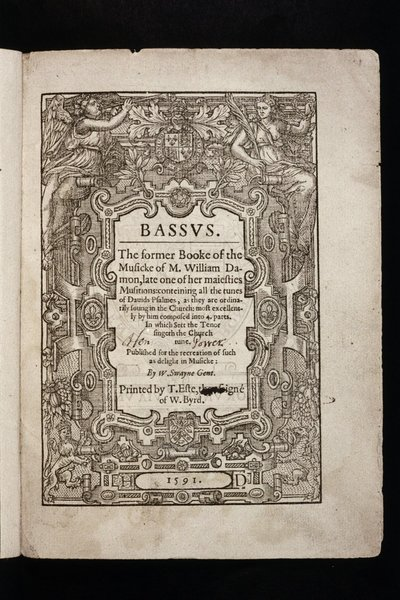 Bassus. The former booke of the musicke ... conteining all the tunes of Davids psalmes, as they are ordinarily soung in the churche.