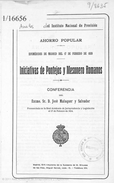 Ahorro popular efemérides de Madrid del 17 de febrero de 1839 : iniciativas de Pontejos y Mesonero Romanos