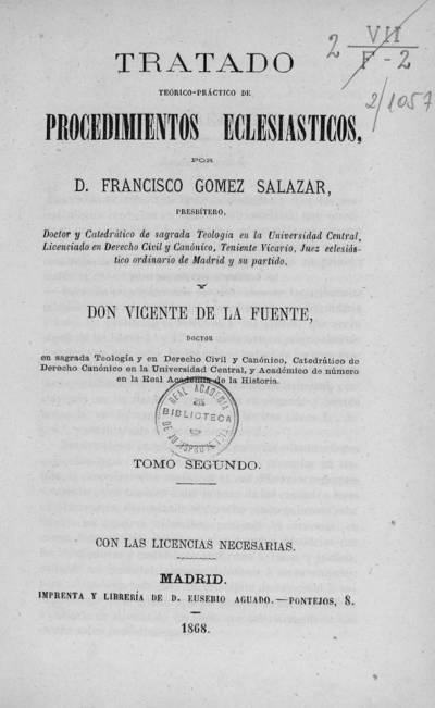 Tratado teórico-práctico de procedimientos eclesiásticos