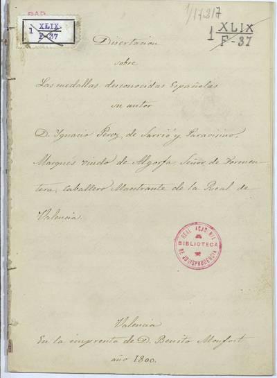 Disertación sobre las medallas desconocidas españolas [Manuscrito]