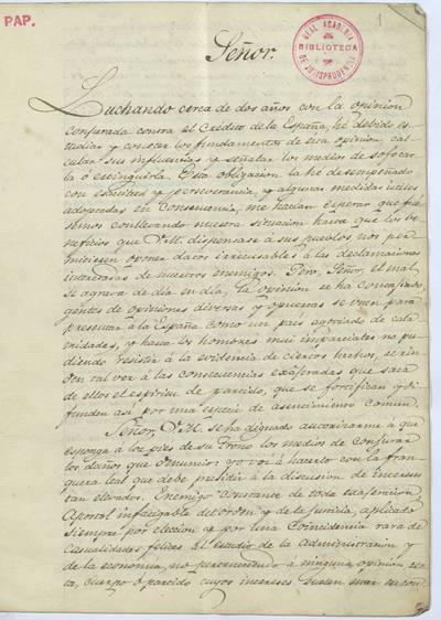 [Exposición sobre el crédito público dirigido a Fernando VII desde París, el 24 de enero de 1826]