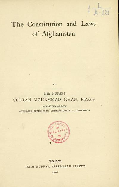 The constitution and laws of Afghanistan