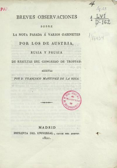 Breves observaciones sobre la nota pasada a varios gabinetes por los de Austria, Rusia y Prusia de resultas del Congreso de Troppau
