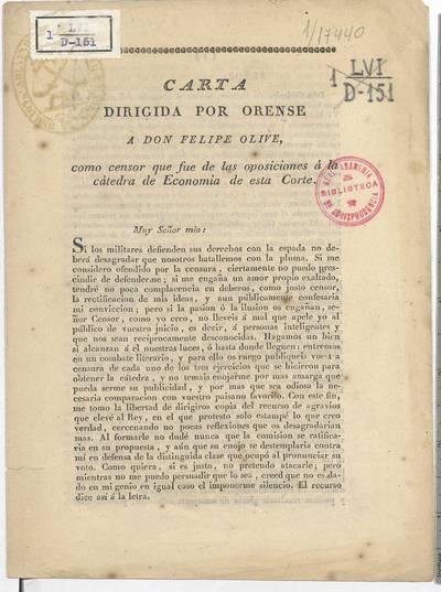 Carta dirigida por Orense a don Felipe Olive, como censor que fue de las oposiciones a la cátedra de Economía de esta Corte