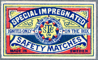 Safety Matches. Special impregnated. The Star Tea co, London