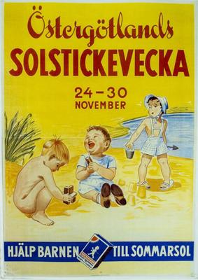 Östergötlands Solstickevecka. 14-20 november. Hjälp barnen till sommarsol (barn leker på strand)