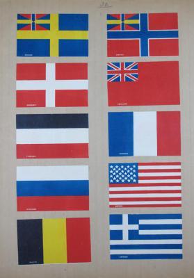 Tryck med flaggor. Litografi