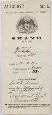 Brand- och Lifförsäkrings aktiebolaget Skåne i Malmö. No 439977