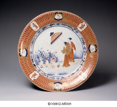 Plate decorated with The parasol lady after Cornelis Pronc in Chinese Imari