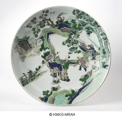 Large dish decorated with a landscape in famille verte