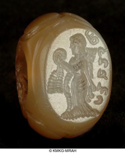 Cachet avec femme, anneau dans la main