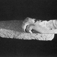 Fragmento escultórico, león. Necrópolis ibérica de La Guardia (Jaén, España).