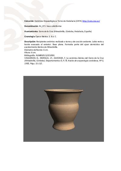 3D PDF. AL_07J. Vaso caliciforme procedente del Cerro de la Cruz (Almedinilla, Córdoba)