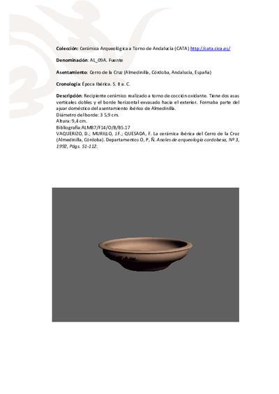 3D PDF. AL_09A. Fuente procedente del Cerro de la Cruz (Almedinilla, Córdoba)