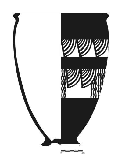 Imagen en blano y negro de BA13_1. Recipiente cerámico procedente de la necrópolis ibérica del Cerro del Santuario (Baza, Granada)