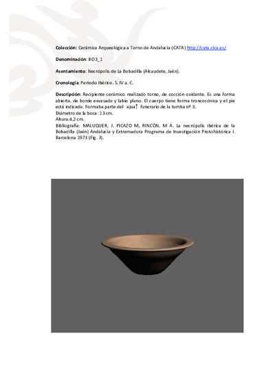 3D PDF de BO3_1. Recipiente cerámico procedente de la necrópolis ibérica de La Bobadilla (Alcaudete, Jaén)