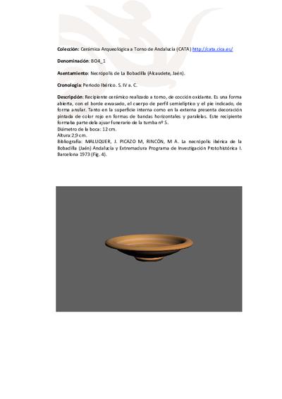 3D PDF de BO4_1. Recipiente cerámico procedente de la necrópolis ibérica de La Bobadilla (Alcaudete, Jaén)