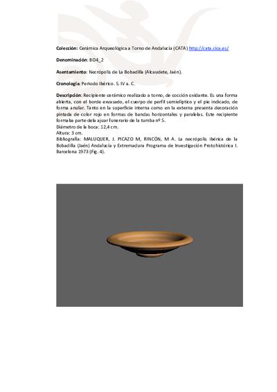3D PDF de BO4_2. Recipiente cerámico procedente de la necrópolis ibérica de La Bobadilla (Alcaudete, Jaén)