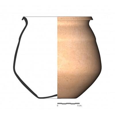 Imagen en color, BO4_3. Recipiente cerámico procedente de la necrópolis ibérica de La Bobadilla (Alcaudete, Jaén)