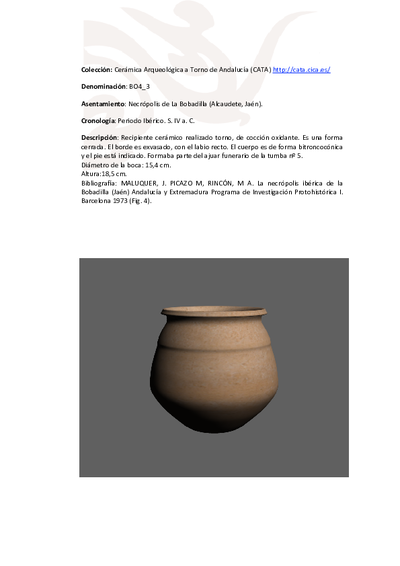 3D PDF de BO4_3. Recipiente cerámico procedente de la necrópolis ibérica de La Bobadilla (Alcaudete, Jaén)