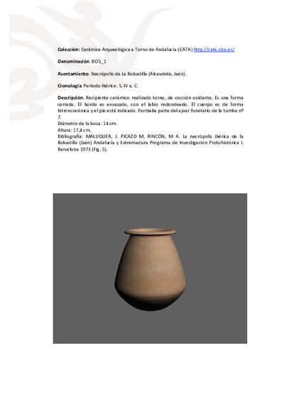 3D PDF de BO5_1. Recipiente cerámico procedente de la necrópolis ibérica de La Bobadilla (Alcaudete, Jaén)