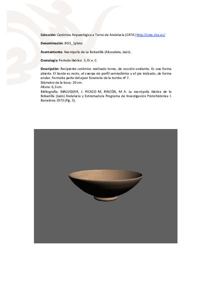 3D PDF de BO5_1plato. Recipiente cerámico procedente de la necrópolis ibérica de La Bobadilla (Alcaudete, Jaén)