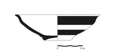 Imagen en blanco y negro, BO6_1. Recipiente cerámico procedente de la necrópolis ibérica de La Bobadilla (Alcaudete, Jaén)